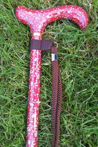 cb55K-verstelbaren-wandelstok-rode-bloem-motief