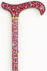 Wandelstok verstelbaar met bloem patroon rood is een modieuze vrolijke wandelstok. De print bestaat uit diverse bloemen op een rode achtergrond.