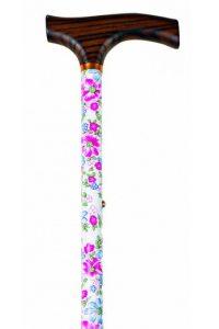 Verstelbaar met bloem patroon is een mooie wandelstok gemaakt van aluminium met een print van roze blauwe bloemen op een witte achtergrond.