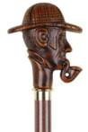 Deze houten wandelstok Sherlock Holmes is voorzien van een gedetailleerde houten hoofd van Sherlock Holmes met een pijp in zijn mond