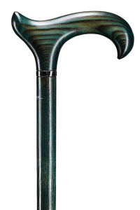 houten wandelstok Antiek essenhout in een mooie groen/grijze kleur met extra brede greep