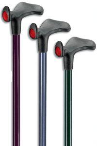 anatomische wandelstok met reflector en soft touch in diverse kleuren