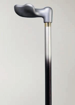 anatomische wandelstok softgrip fischer uitgevoerd in een zwart naar antraciet overlopende kleur