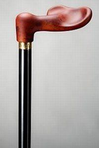 Mooie anatomische houten wandelstok Wortelnoten gemaakt van beukenhout en gelakt in een zijde matte zwarte kleur en voorzien van een mooie anatomische greep
