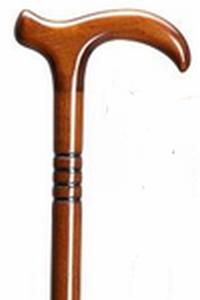 houten wandelstok leder bruin