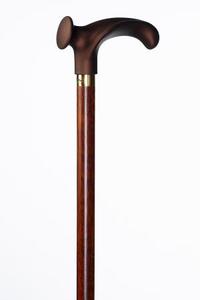 Anatomische houten wandelstok Derby Soft gemaakt van beukenhout en in een kersenkleur gebeitst. De anatomische greep zorgt voor een aangename pasvorm.