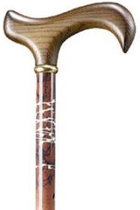 Verstelbare aluminium wandelstok Zomer voorzien van een mooie bruin marmeren decoratie en een klassieke hardhouten Derby greep.