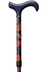 verstelbare carbon wandelstok met rode bloem (klaproos)