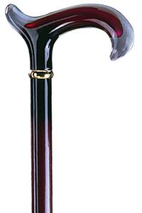 Deze wandelstok Acryl Derby bordeaux is een genot voor het oog en is met de hand gepolijst. De zwarte en bordeaux rode kleuren in de greep lopen prachtig over in de stok zelf