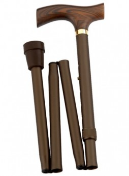 Opvouwbare wandelstok Fritz Brons. Klassieke wandelstok van aluminium met een hardhouten Fritz greep. De stok is uitgevoerd in een warme bronzen kleur.