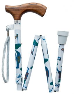 Een unieke opvouwbare wandelstok Golf: gemaakt van aluminium en voorzien van afbeeldingen van een golf spelende man met petje, de green en een golfballetje.