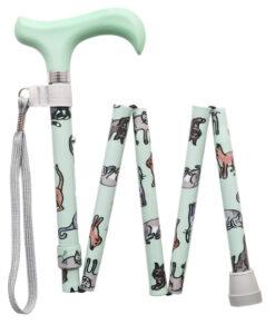 Een luxe opvouwbare wandelstok katten van aluminium voorzien van afbeeldingen van lieve spelende katjes/poesjes op een mint groene achtergrond.