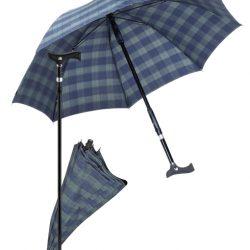 paraplu wandelstok - blauw groen geruit