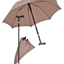 paraplu wandelstok - bruin geruit