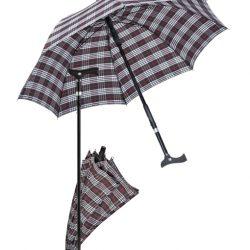 paraplu wandelstok - zwart/blauw geruit
